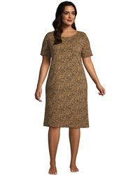 Lands' End Plus Short Sleeve Stretch Jersey Nightdress - Brown