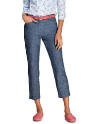 Lands' End Mid Rise Chambray Cropped Trous - Blue