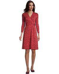 Lands' End Twist Front Fit & Flare Wrap Dress - Red