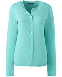 Lands' End Classic Cashmere Crew Neck Cardigan - Green