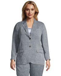 Lands' End Pure Linen Jacket, Women, Size: 20-22 Plus, Blue, By
