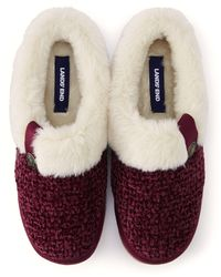 Lands' End Chunky Knit Slippers - Red