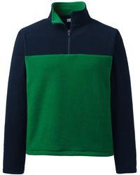 Lands' End T100 Fleece-Pullover mit Schulterpasse, Herren, Größe: M Normal, Grün, by Lands' End, Blaugras Colorblock