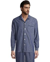 Lands' End Chambray Pyjama Shirt, Men, Size: 38-40 Regular, Blue, Cotton, By