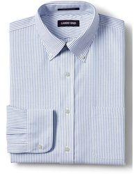 Lands' End MODERN FIT. Buttondown-Kragen. Gemustertes, bügelleichtes Oxfordhemd - Blau