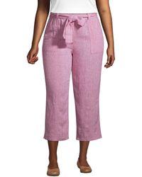 Lands' End 7/8-Leinenhose mit weitem Bein in großen Größen, Damen, Größe: XL Plusgrößen, Rot, by Lands' End, Soft Mojave Rose Leinen - Pink