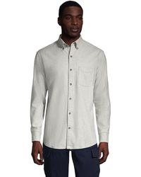 Lands' End Plain Flannel Shirt, Traditional Fit - Grey
