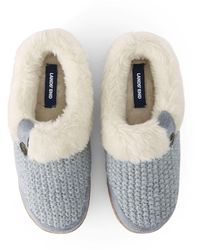 Lands' End Chunky Knit Slippers - Metallic