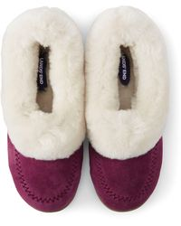 Lands' End Suede Shearling Embroidered Slippers