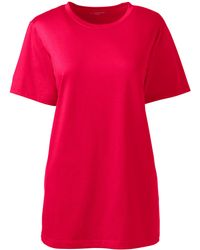 Lands' End Supima Short Sleeve Crew Neck T-shirt - Red