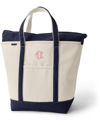 Lands' End Large Zip Top Canvas Tote Bag - White