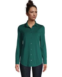 Lands' End Cotton-modal Roll Sleeve Tunic - Green