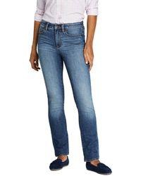 Lands' End Straight Fit Jeans Mid Waist in Indigo - Blau