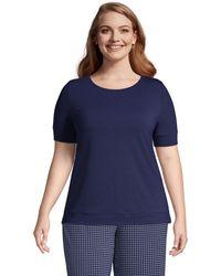 Lands' End Jersey-Schlafshirt in großen Größen, Damen, Größe: 48-50 Plusgrößen, Blau, by Lands' End, Tiefsee