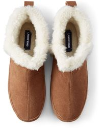 Lands' End Suede Leather Bootie House Slippers - Brown