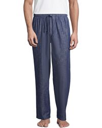 Lands' End Chambray Pyjama Bottoms, Men, Size: 28-30 Regular, Blue, Cotton, By