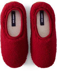 Lands' End Sherpa Fleece Ballet Slippers - Red