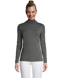 Lands' End Cotton-modal Roll Neck, Women, Size: 8 Regular, Grey, By