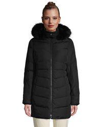 Lands' End Faux Fur Hooded Down Coat - Black