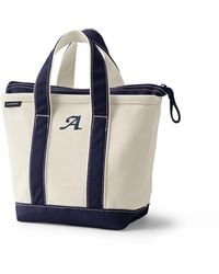Lands' End Small Zip Top Canvas Tote Bag - White