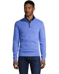Lands' End Zipper-Pullover aus Bedford-Ripp, Herren, Größe: XXL Normal, Blau, Baumwolle, by Lands' End, Vergissmeinnicht