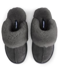 Lands' End Shearling Mule Slippers - Grey