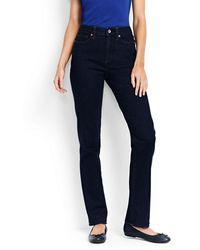 Lands' End Bequeme Dark Rinse Straight Jeans - Blau