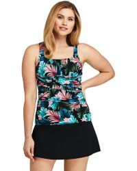 a6dd977f5d482 Lands' End Black Textured High-neck Tankini Top in Black - Lyst