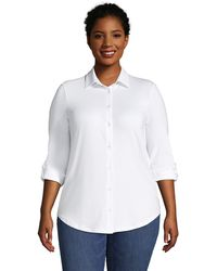 Lands' End Plus Cotton-modal Roll Sleeve Tunic - White
