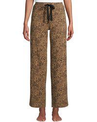 Lands' End Weite Jersey Pyjama-Hose in 7/8-Länge, Damen, Größe: S Normal, Braun, by Lands' End, Vikunja-Meliert Leopard