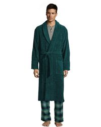 Lands' End Turkish Terry Bath Robe, Men, Size: 38-40 Regular, Green, Cotton, By
