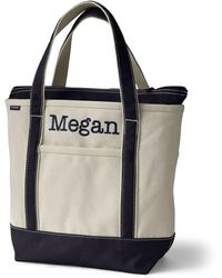 Lands' End Dium Zip Top Canvas Tote B - White