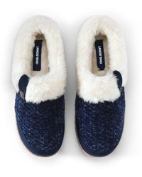 Lands' End Chunky Knit Slippers - Blue