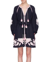 MARCH11 - 'rose Power' Belted Floral Embroidered Mini Dress - Lyst