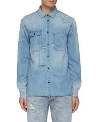 Denham Lincoln' Repair Patchwork Denim Shirt - Blue