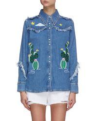 Mira Mikati Embroidered Western Fringe Denim Shirt - Blue