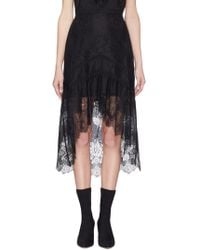Alice + Olivia - Triss Asymmetric Tulle And Lace Midi Skirt - Lyst