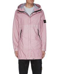 Stone Island 'membrana 3l Tc' Hooded Parka Coat - Pink