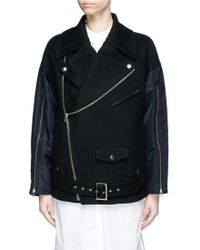 The Keiji Colourblock Satin Sleeve Wool Melton Biker Jacket - Black