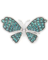 LC COLLECTION - Diamond Alexandrite 18k White Gold Butterfly Brooch - Lyst