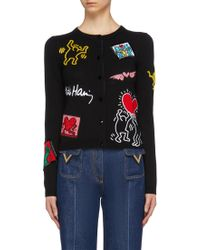 Alice + Olivia - X Keith Haring 'ruthy' Graphic Appliqué Cardigan - Lyst