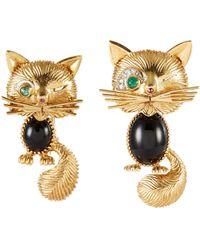 Palais Royal Van Cleef And Arpels Onyx 18k Gold Cat Brooch - Metallic