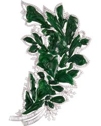 LC COLLECTION Diamond Jade 18k White Gold Brooch - Green