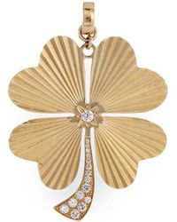 Loquet London - 'four Leaf Clover' Diamond 14k Yellow Gold Bracelet Charm – Large - Lyst