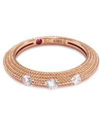 Roberto Coin - 'new Barocco' Diamond 18k Rose Gold Beaded Ring - Lyst