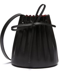 Mansur Gavriel Mini Pleated Leather Drawstring Bucket Bag - Black