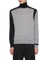 Neil Barrett Asymmetric Colour Blocking Wool Knit Turtleneck Jumper - Grey