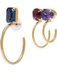 Joomi Lim - 'gem Fatale' Swarovski Crystal Mismatched Hoop Earrings - Lyst