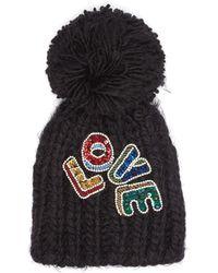 Venna - 'love' Embellished Slogan Pompom Knit Beanie - Lyst