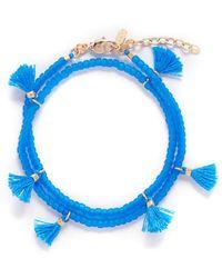 Shashi 'laila' Tassel Beaded Double Wrap Bracelet - Blue